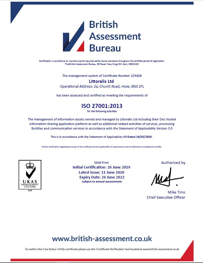 Littoralis, the company behind Disc, awarded ISO27001 certification